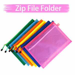 A4 A5 Mesh Bag Zip Pouch File Case Wallet For Documents