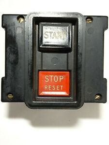 Vintage Industrial Decor Start stop Reset Pushbutton Station pre owned