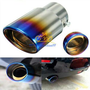 Stainless Steel Exhaust Pipe Car Rear Muffler Tip Universal Blue Chrome Tailpipe