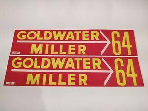 1964 Pair Of Goldwater Miller Presidential Bumper Stickers 2 34 X 12 34
