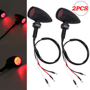 Metal Motorcycle Turn Signals Mini Bullet Blinker Red Indicator Tail Lights 12v