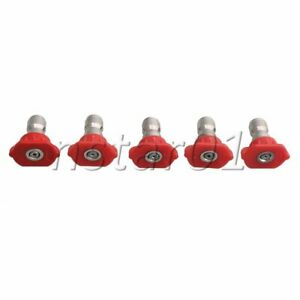5pcs 1 1 2 1 4 1 6 2mm Red 0 Degree Pressure Washer Spray Nozzle Tip Set