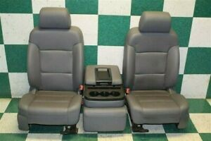 14 18 Silverado Gray Vinyl Buckets Hot Rod Seats Jumpseat Console Armrest Tracks
