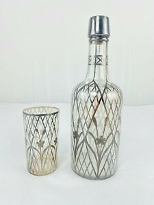 Vintage Art Deco Decanter Sterling Silver Overlay W Matching Glass Tumbler