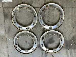 Vintage Volkswagen Bug Beetle 1970 s 8 Slot 4 Lug Chrome Wheel Beauty Rings Set
