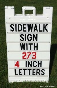 Changeable Letter Sidewalk Sign White In Color With 4 Letters New