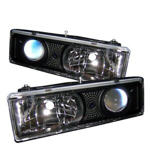 Spyder 5009289 Projector Headlights Black For 1995 1999 Chevrolet Tahoe 2pc New