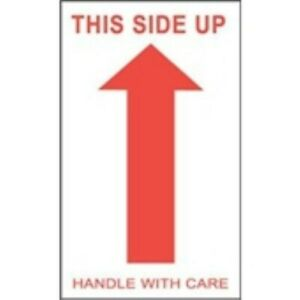 1000 dl1050 3x5 This Side Up Handle With Care arrow Label