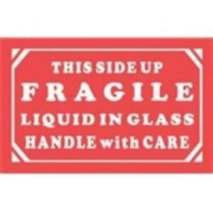 1000 dl1290 5x3 This Side Up Fragile Liquid In Glass Handle With Care Label