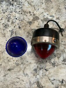 Vintage 1940 S Stop Light Single Lamp Both Red And Blue Lenses Needs New Home