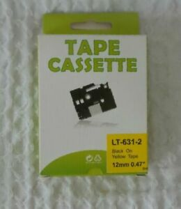 Tape Cassette Lt 631 2 P touch Label Maker Tape 12mm Lot Of 2 Black Yellow Tape