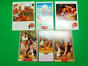 (6) COCA COLA MINIATURE REPRODUCTION ADVERTISEMENTS ROCKWELL WYETH