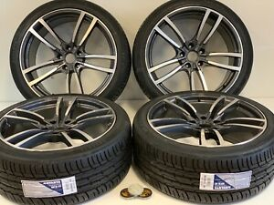 22 Wheels Rims Tires Fit Porsche Cayenne Macan Gts Turbo Style Gray Machined