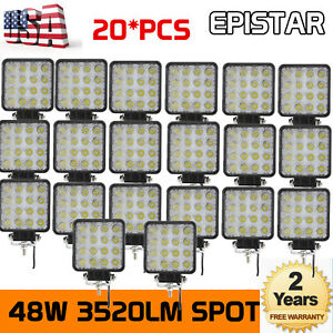 20x48w Led Work Light Truck Offroad Tractor Spot Driving 12v 24v Square 4inch Us