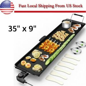 Commercial Electric Griddle Flat Top Countertop Large Non Stick Grill Bbq 2000w