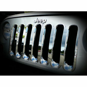 Chrome Grille Overlay 1 piece For 2007 2015 Jeep Wrangler