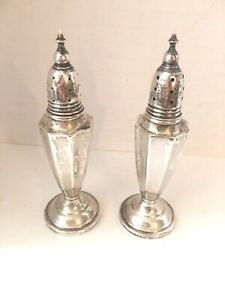 Vintage Tall Sterling Silver Salt Pepper Shakers 6 Not Weighted