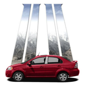 4p Stainless Pillar Post Covers Fits 2009 11 Chevy Aveo Sedan By Brighter Design