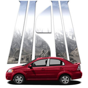 6p Stainless Pillar Post Covers Fits 2009 11 Chevy Aveo Sedan By Brighter Design