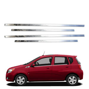 4p Stainless Window Sills Fits 2010 19 Chevy Aveo Hatchback By Brighter Design
