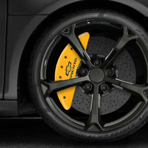 Yellow Mgp Caliper Covers W chevy Racing Fits 2016 2019 Chevy Camaro Ss