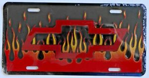 New Vintage Sealed Chevrolet Chevy Flames Red Bowtie License Plate Wall Sign Vtg