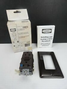 Hubbell Gfwrst20 Receptacle Brown 20amp 125v 2 Pole 3 Wire Ground new