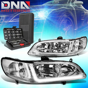 For 1998 2002 Honda Accord Led Drl Chrome Housing Clear Signal Headlights tools