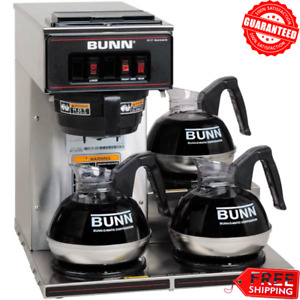 Coffee Maker Bunn Vp17 3 Pourover Brewer Machine 3 Warmer Commerical Low Profile