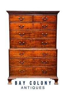 18th C Antique English George Iii Chippendale Mahogany Chest On Chest Dresser