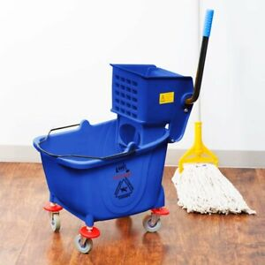Commercial Janitor Mop Bucket 36 Qt And Wringer Professional Cleaner Blue