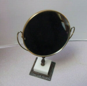 Vintage Swivel Gold Trim Vanity Makeup Mirror W Fine Marble Base Made In Italy
