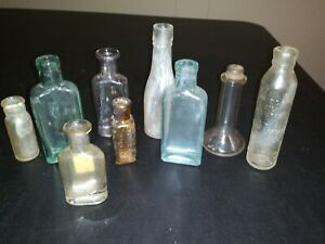 Vtg Antique Collectible Small Apothecary Bottles Lot Of 9