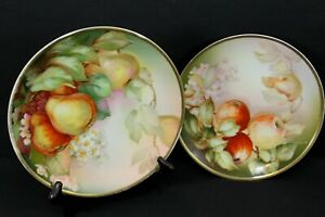 Antique Thomas Sevres Hand Painted Plates Bavaria Germany Pears Apples Signed