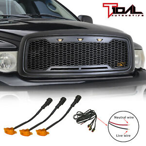 Tidal Replacement Led Grille Upper Gray Grill Fit 02 05 Dodge Ram 1500 Hd