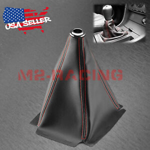 Shift Knob Shifter Boot Cover Black With Red Stitches Pvc Leather Mt At Sport