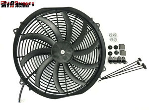 1x 16 Slim Electric Radiator Fan Pusher Puller 120w High Power 3200cfm 2100rpm