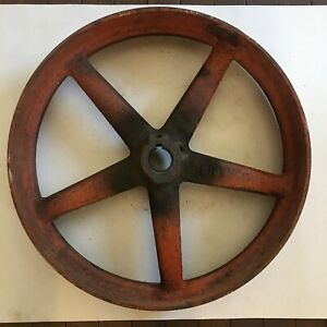 Vintage Antique Cast Iron 18 Flat Belt Pulley 1 1 2 Bore