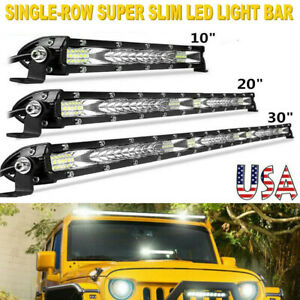 10 20 30 Slim Led Light Bar Flood Spot Combo Work Driving Offroad Atv 4wd Us