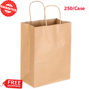 250 pack Natural Kraft Paper Shopping Grocery Bag With Handle 8 x4 1 2 x10 5 8