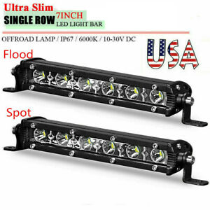 7inch Slim Led Light Bar Work Single Row Spot Flood Offroad Driving Atv 4wd Suv