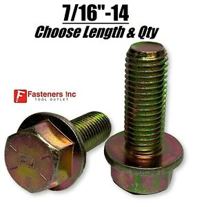 7 16 14 Grade 8 Flange Frame Bolt Yellow Zinc Plated all Sizes Qty s 7 16