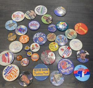 Random Vintage Mlb Nhl Soccer Nfl College Sport Random Badge Buttons Lot Of 35