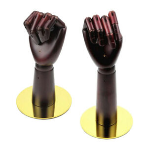 2x Solid Wood Flexible Mannequin Hand Ring Wallet Jewelry Display Stand Rack