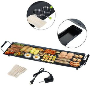 Commercial Electric Flat Top Grill Griddle Non Stick Stainless Steel 2000w Large