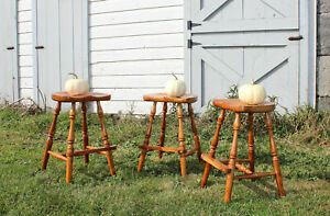 Rare Set 3 Frederick Duckloe Cherry Windsor Bar Stools Chairs Portland Pa