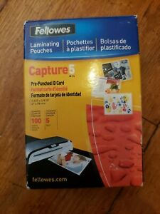 Fellowes 52016 Pre punched Id Cards Hot Laminating Pouches