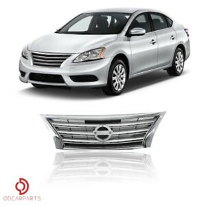 Fit Nissan Sentra 2013 2014 2015 Front Upper Bumper Grille Chrome Silver