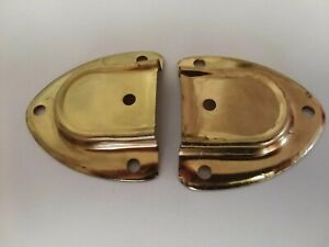 Chest Trunk Brass Plated Leather Handle End Set Vintage Old Stock Hardware