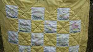 Vintage Yellow Gingham Baby Cot Quilt Hand Sewn Animals Cats 38 X 55